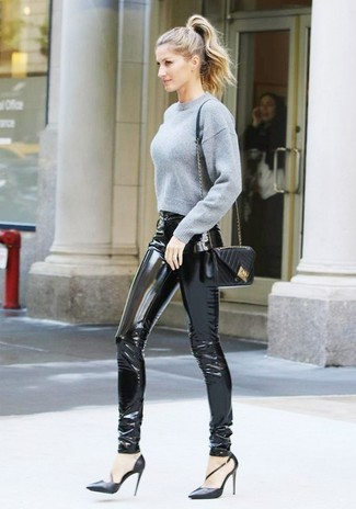 How to wear: black quilted leather crossbody bag, black leather pumps, black leather skinny pants, grey cropped sweater