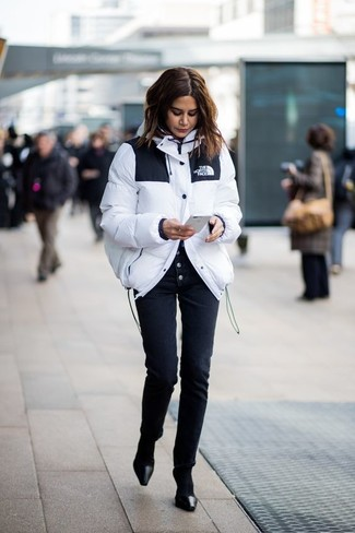 How to wear: black socks, black leather pumps, black skinny pants, white puffer jacket