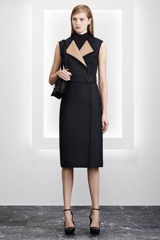 How to wear: black leather satchel bag, black leather pumps, black sleeveless turtleneck, black sleeveless coat
