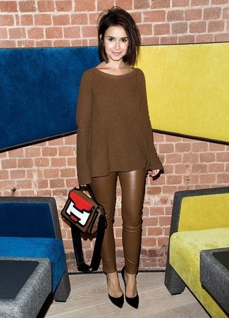 How to wear: multi colored leather satchel bag, black suede pumps, brown leather skinny pants, brown knit oversized sweater