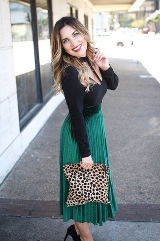 Women's Tan Leopard Suede Clutch, Black Suede Pumps, Green Pleated Midi Skirt, Black Cutout Long Sleeve T-shirt