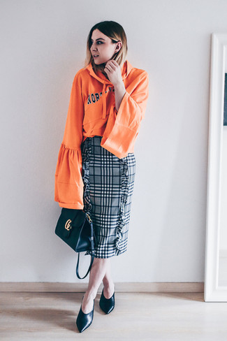 How to wear: black leather crossbody bag, black leather pumps, grey plaid pencil skirt, orange print hoodie