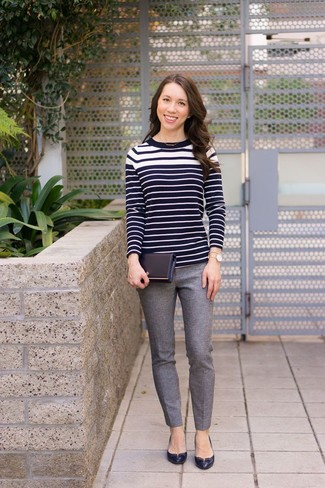 How to wear: gold watch, black leather pumps, grey wool skinny pants, black and white horizontal striped crew-neck sweater