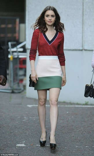 How to wear: black leather crossbody bag, black chunky leather pumps, multi colored mini skirt, red print v-neck sweater