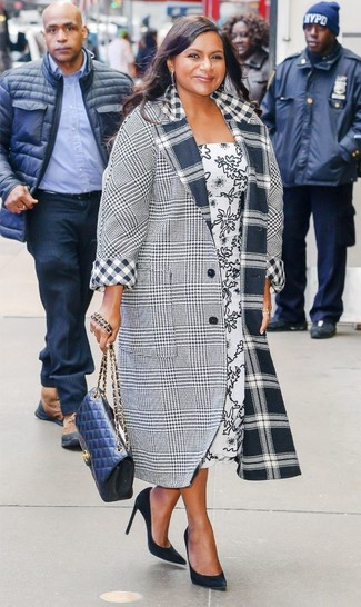 How to wear: navy quilted leather crossbody bag, black suede pumps, white and black print midi dress, grey plaid coat