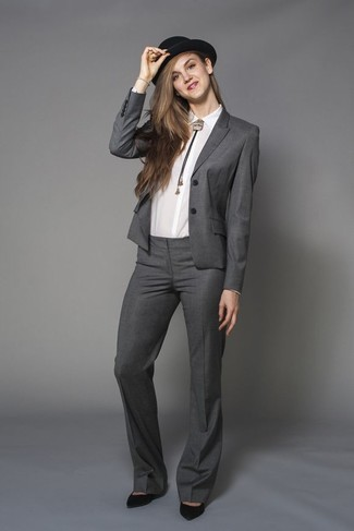 How to wear: black wool hat, black suede pumps, white dress shirt, grey suit