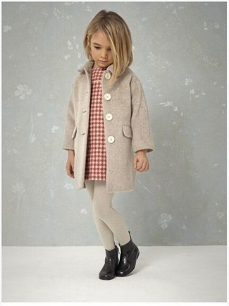 How to wear: beige tights, black rain boots, red plaid dress, beige coat