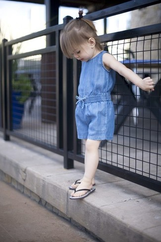 How to wear: black sandals, blue romper