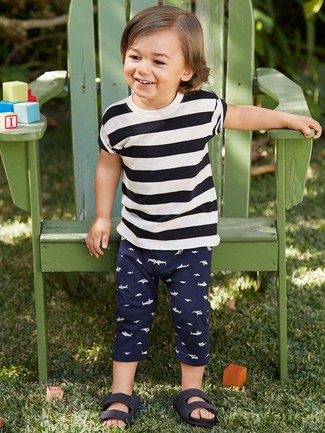 Boys' Black Sandals, Navy Sweatpants, White and Black Horizontal Striped T-shirt