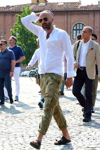 How to wear: dark brown sunglasses, black leather sandals, olive cargo pants, white dress shirt