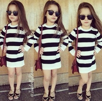 How to wear: black sandals, white and black horizontal striped dress
