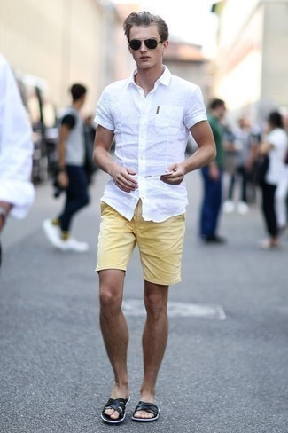 How to Wear Mustard Shorts For Men: If you're on the hunt for a laid-back and at the same time sharp look, make a white short sleeve shirt and mustard shorts your outfit choice. And if you want to immediately tone down this look with a pair of shoes, why not add black leather sandals to the equation?