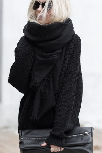 3e02d790a ... Women's Black Scarf, Black Leather Clutch, Black Knit Oversized Sweater