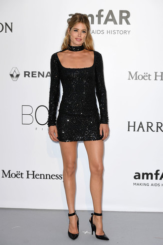 Dress in a black sequin bodycon dress for a casual level of dress. Elevate your getup with black leather pumps.