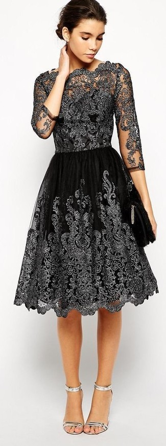 How to wear: black sequin clutch, silver leather heeled sandals, black lace fit and flare dress