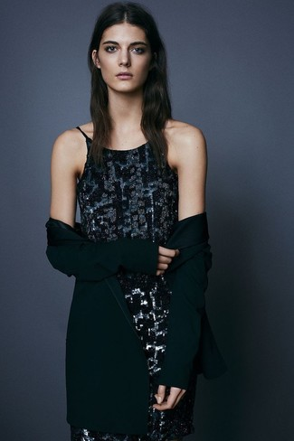 How to Wear a Black Sequin Tank Dress: A black sequin tank dress and a black open cardigan are great staples that will integrate nicely within your casual styling arsenal.