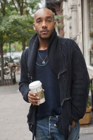 How to wear: black shawl cardigan, navy crew-neck sweater, blue jeans