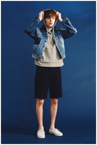 80468945763 Which Denim Jacket To Wear With Black Shorts For Men (1 looks ...