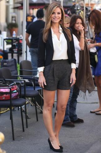How to wear: black suede wedge pumps, black wool shorts, white silk dress shirt, black blazer