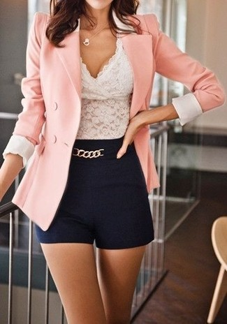 How to Wear a Pink Double Breasted Blazer For Women: This combo of a pink double breasted blazer and black shorts is super easy to pull together and so comfortable to work as well!