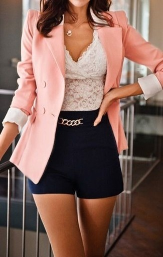 How to Wear a Pink Double Breasted Blazer For Women: A pink double breasted blazer and black shorts are the kind of stylish casual must-haves that you can wear a hundred of ways.