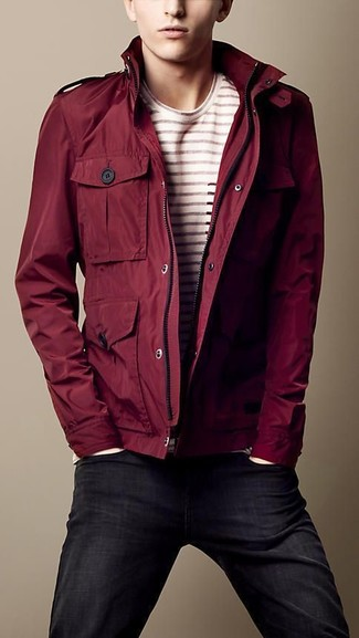 How to wear: black skinny jeans, beige horizontal striped crew-neck t-shirt, burgundy barn jacket