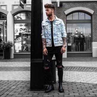 2af5797dfc Men's Black Leather Chelsea Boots, Black Ripped Skinny Jeans, Black ...