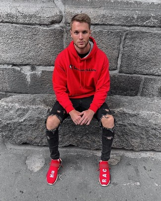 How to wear: red athletic shoes, black ripped skinny jeans, black crew-neck t-shirt, red hoodie