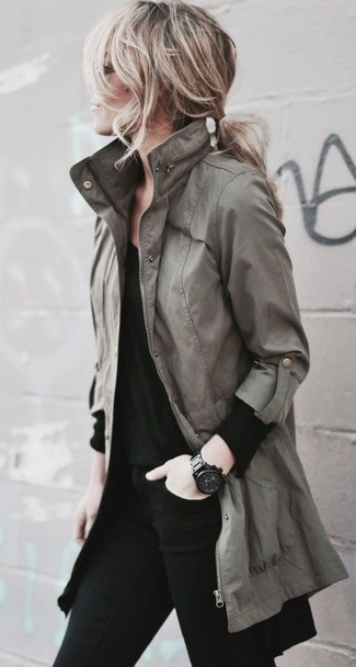 How to wear: black ceramic watch, black skinny jeans, black long sleeve t-shirt, olive anorak