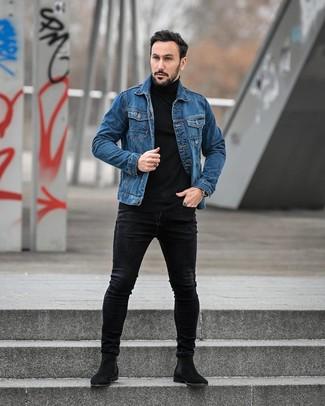 How to wear: black suede chelsea boots, black skinny jeans, black turtleneck, blue denim jacket