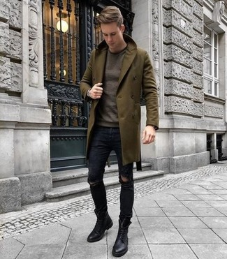How to Wear an Olive Overcoat: This relaxed casual combo of an olive overcoat and black ripped skinny jeans is a surefire option when you need to look stylish in a flash. Complement your ensemble with a pair of black leather casual boots to instantly step up the wow factor of this outfit.