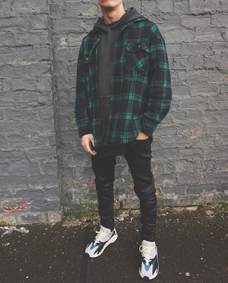 How to wear: grey athletic shoes, black skinny jeans, charcoal hoodie, dark green plaid shirt jacket