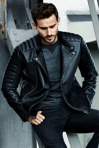How to wear: black skinny jeans, charcoal sweatshirt, black quilted leather biker jacket