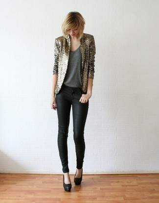 How to wear: black leather pumps, black skinny jeans, charcoal tank, gold sequin blazer