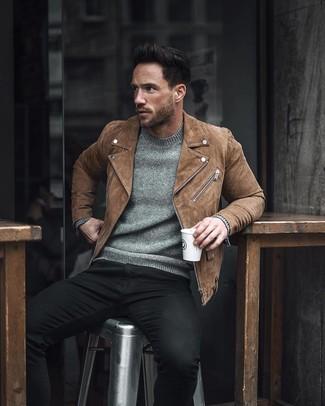 How to wear: black skinny jeans, grey crew-neck sweater, brown suede biker jacket