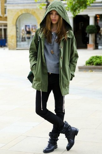 How to wear: black studded leather mid-calf boots, black skinny jeans, grey crew-neck sweater, olive anorak