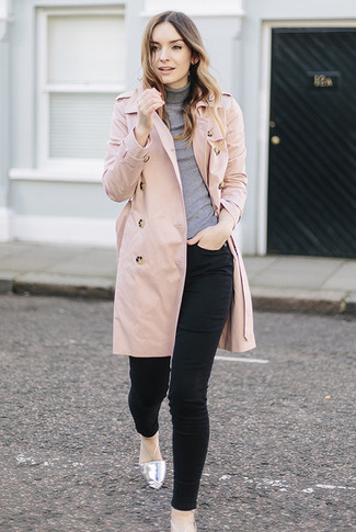 How to wear: silver leather ballerina shoes, black skinny jeans, grey turtleneck, pink trenchcoat