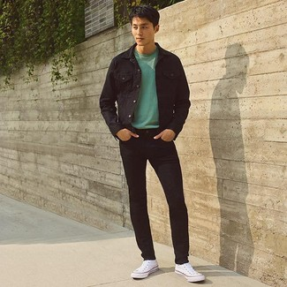 How to wear: white canvas high top sneakers, black skinny jeans, mint crew-neck sweater, black denim jacket