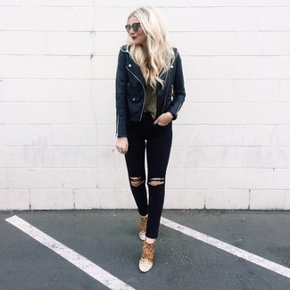 How to wear: tan leopard suede ankle boots, black ripped skinny jeans, olive crew-neck sweater, black leather biker jacket