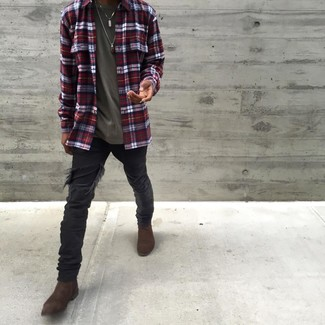 How to Wear Black Ripped Skinny Jeans For Men: Make a white and red and navy plaid long sleeve shirt and black ripped skinny jeans your outfit choice for a trendy and easy-going outfit. Here's how to dial it up: dark brown suede chelsea boots.
