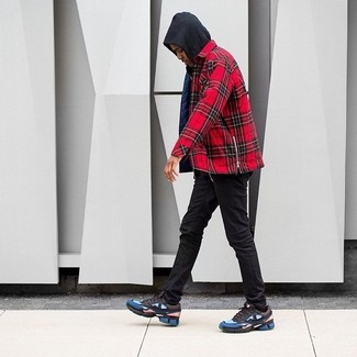 How to wear: multi colored athletic shoes, black skinny jeans, red plaid long sleeve shirt, black hoodie