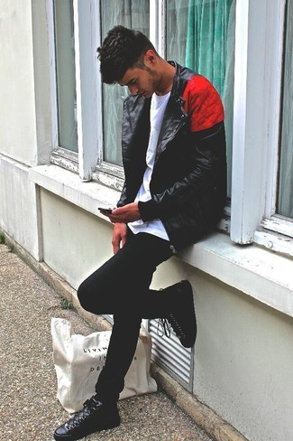 How to wear: black leather high top sneakers, black skinny jeans, white crew-neck t-shirt, black leather biker jacket