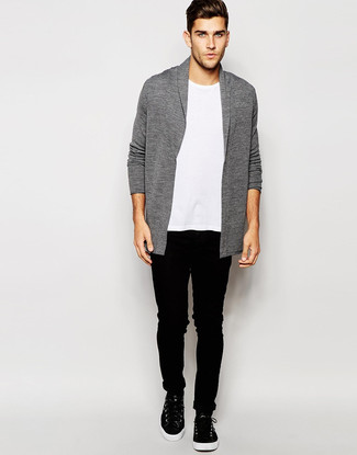 How to wear: black leather high top sneakers, black skinny jeans, white crew-neck t-shirt, grey shawl cardigan