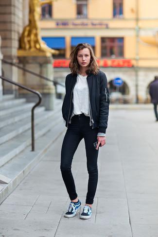 6d3ee723 ... Women's Navy Low Top Sneakers, Black Skinny Jeans, White Crew-neck T-