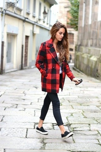 How to wear: black suede slip-on sneakers, black skinny jeans, white crew-neck t-shirt, red and black check coat
