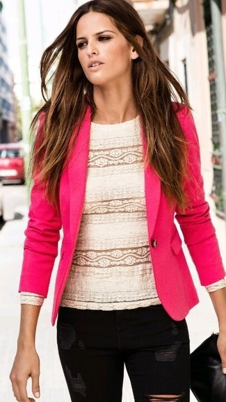How to wear: black leather clutch, black ripped skinny jeans, white lace long sleeve blouse, hot pink blazer