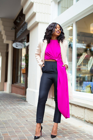 How to wear: black leather pumps, black skinny pants, hot pink sleeveless top, beige coat