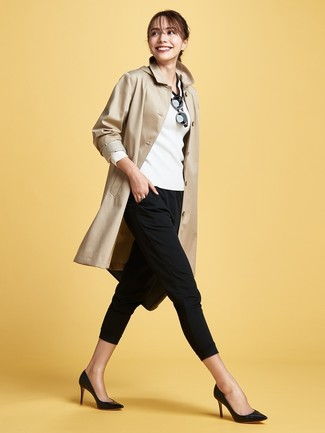How to wear: black leather pumps, black skinny pants, white and black v-neck sweater, tan trenchcoat