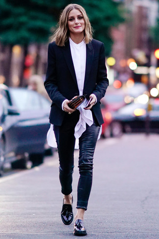 How to wear: black leather tassel loafers, black leather skinny pants, white button down blouse, black blazer