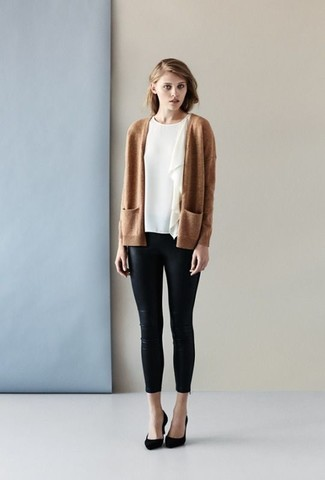 How to wear: black suede pumps, black leather skinny pants, white ruffle short sleeve blouse, tan open cardigan